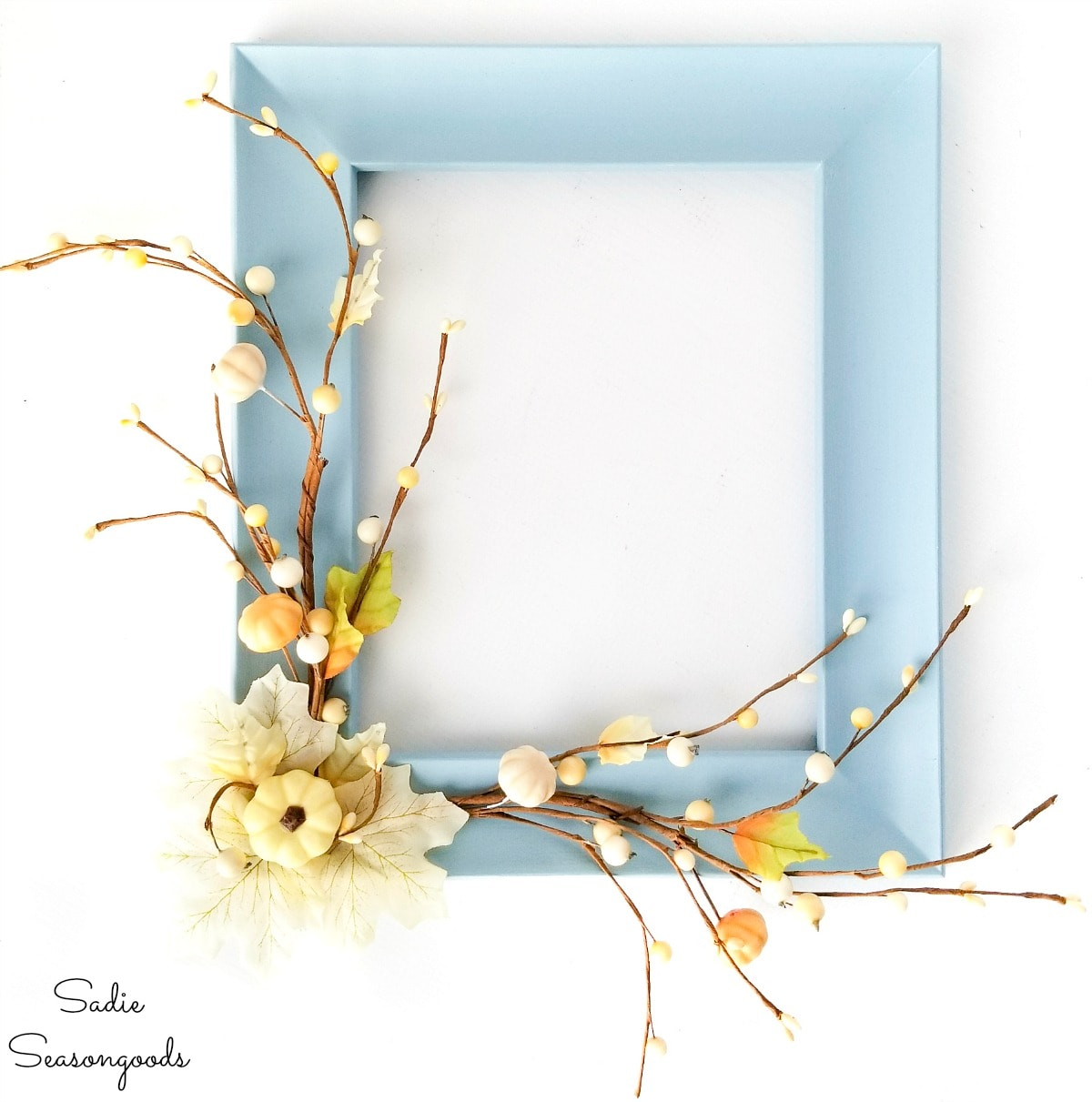Repurposing a picture frame as a neutral fall wreath