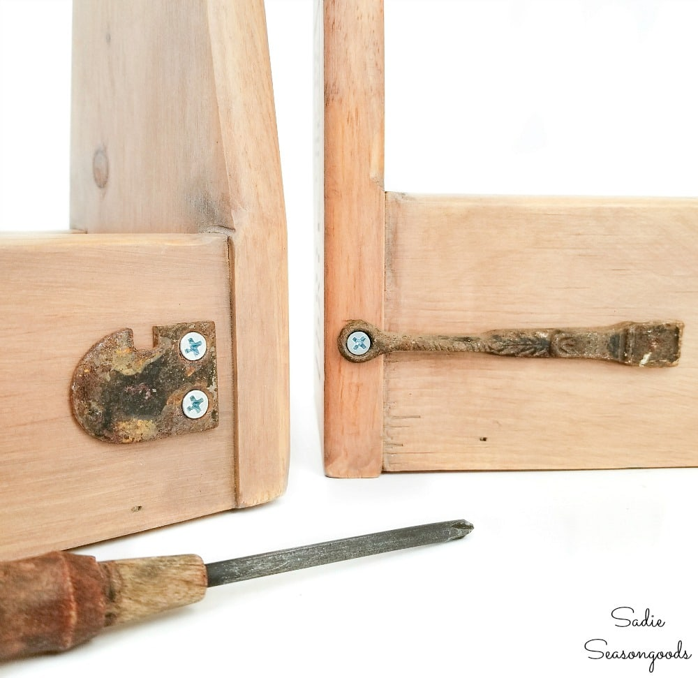 Salvaged hardware on wooden tool caddies