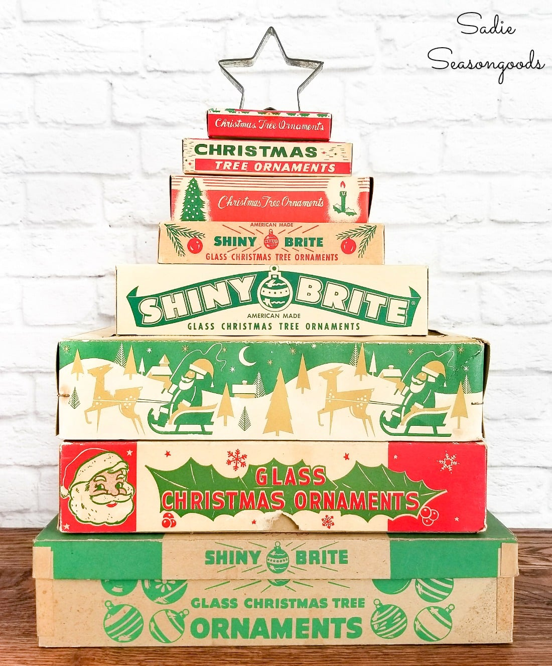 Vintage ornament boxes as thrifty Christmas decor