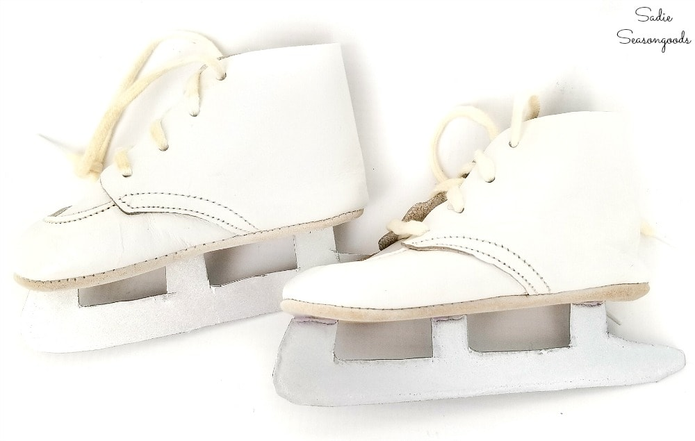 Baby ice skates from vintage baby shoes