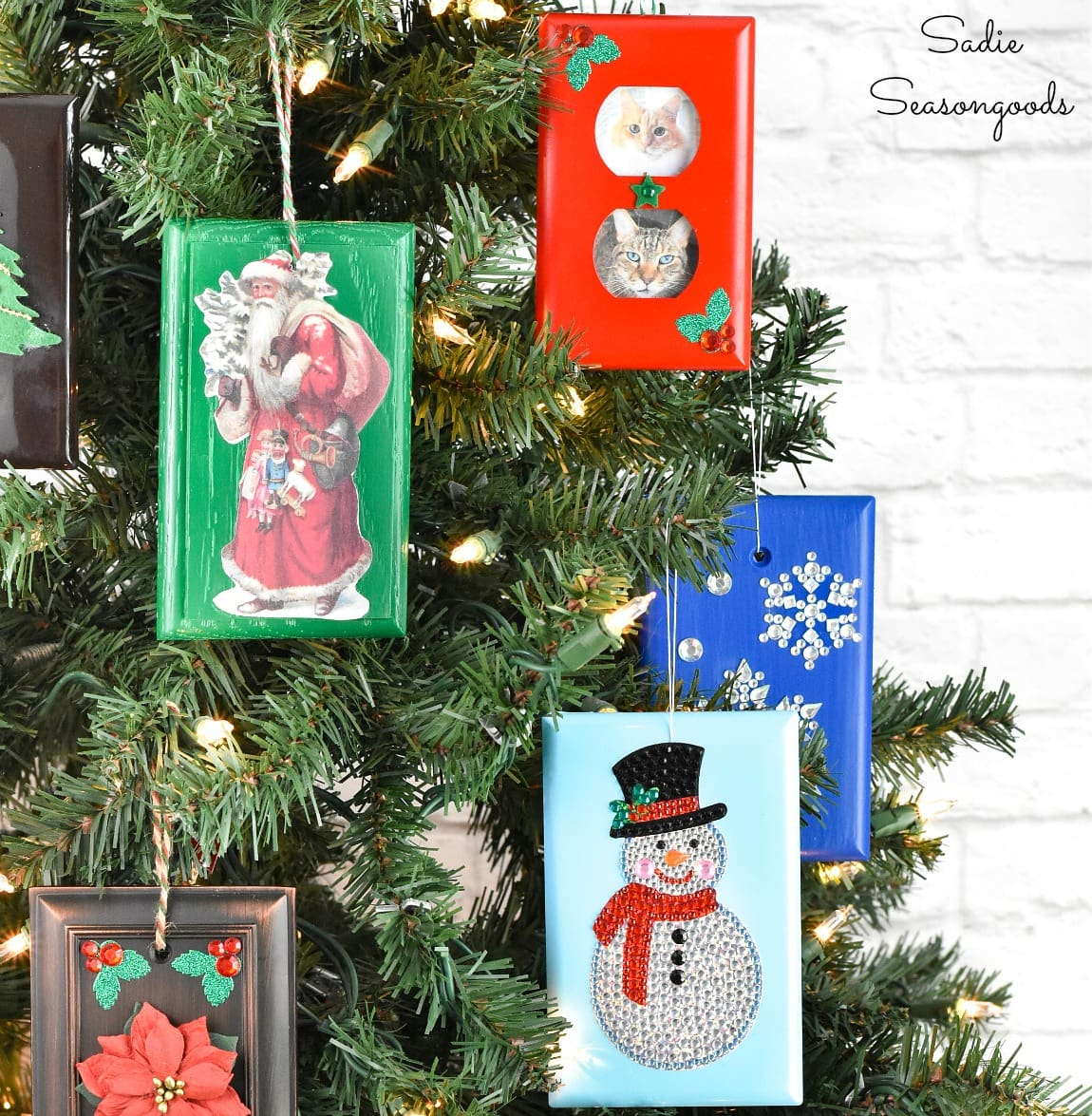 Christmas ornament crafting with switchplate covers