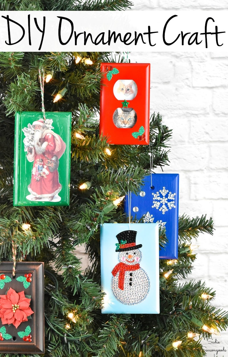 Christmas ornament crafting with wall switch plates
