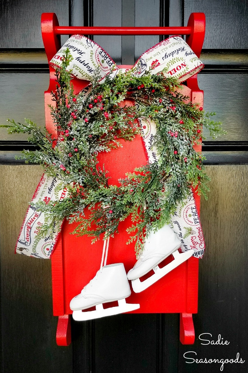 Decorative sled and baby ice skates as a Christmas wreath