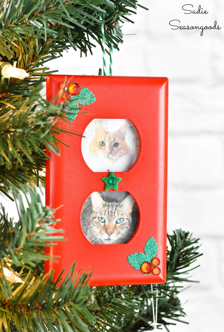 Outlet plate as a picture frame ornament