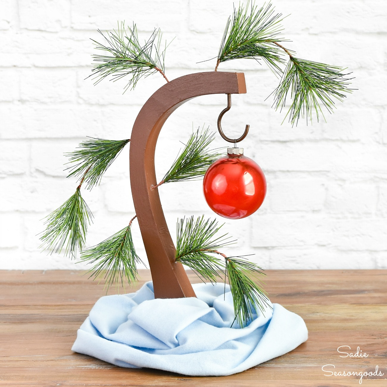 Upcycled Version of a Charlie Brown Christmas Tree
