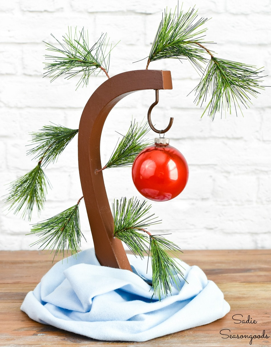 Upcycling a banana stand into a Charlie Brown Christmas tree