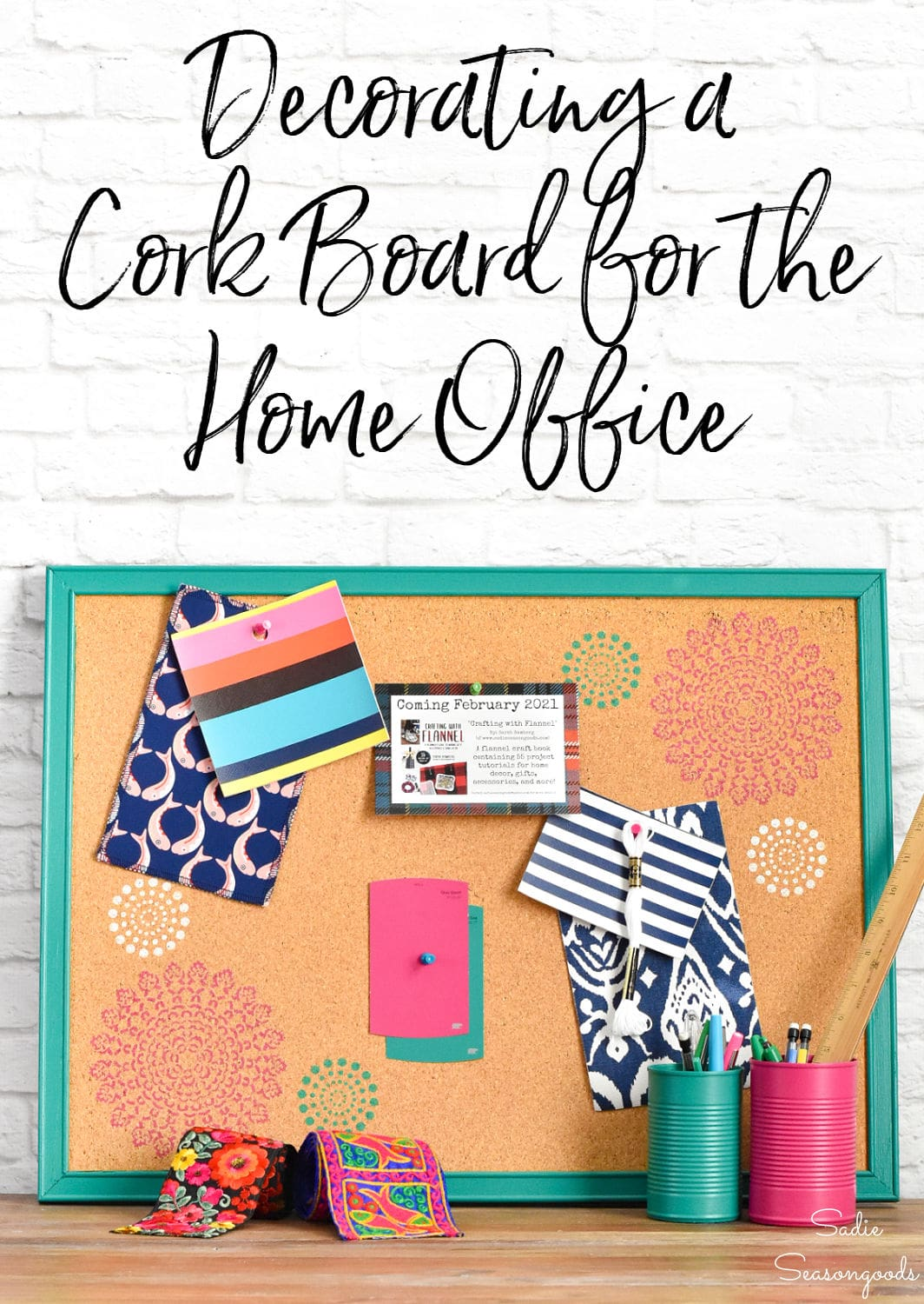 Decorative cork board with by stenciling on cork