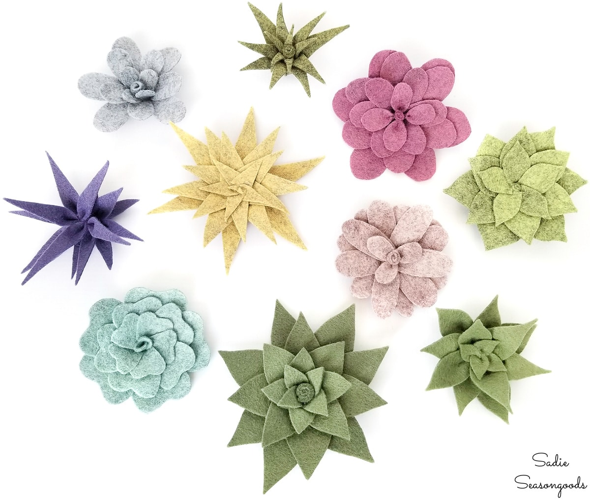 Different styles of felt succulents