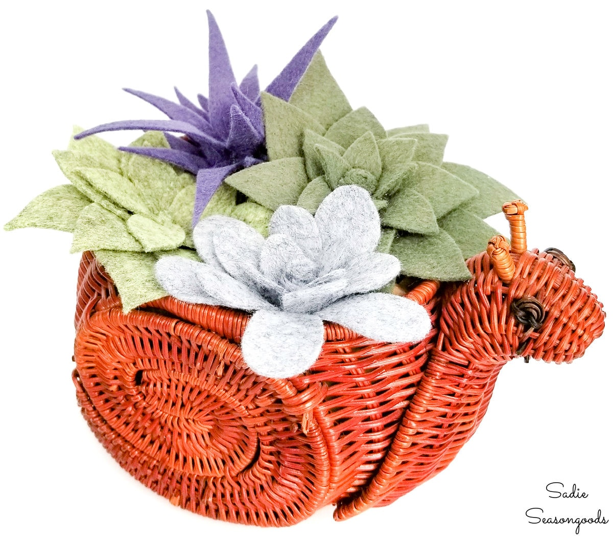 Felt succulents in a snail basket