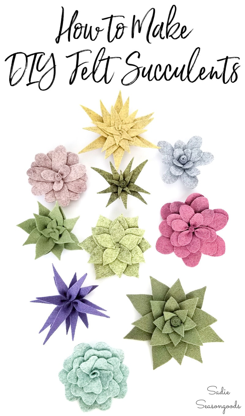 Felt succulents to use in centerpieces