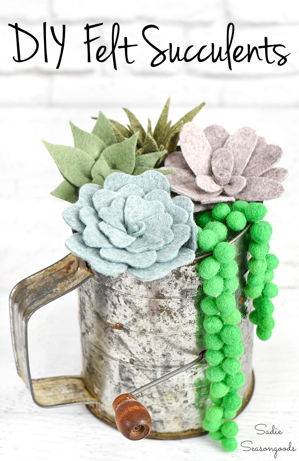 How to make felt succulents as DIY decor
