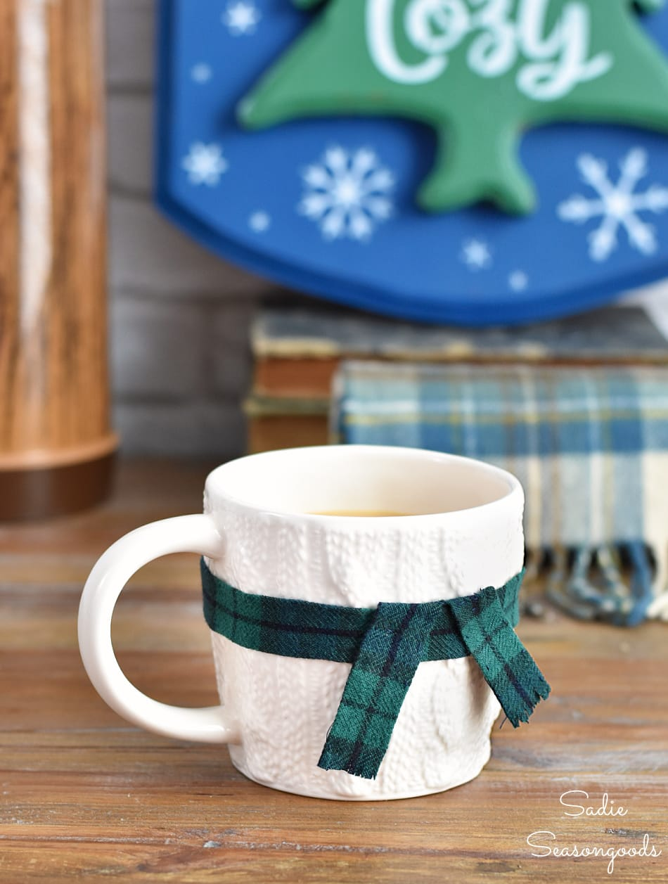 Mug scarf from a flannel shirt