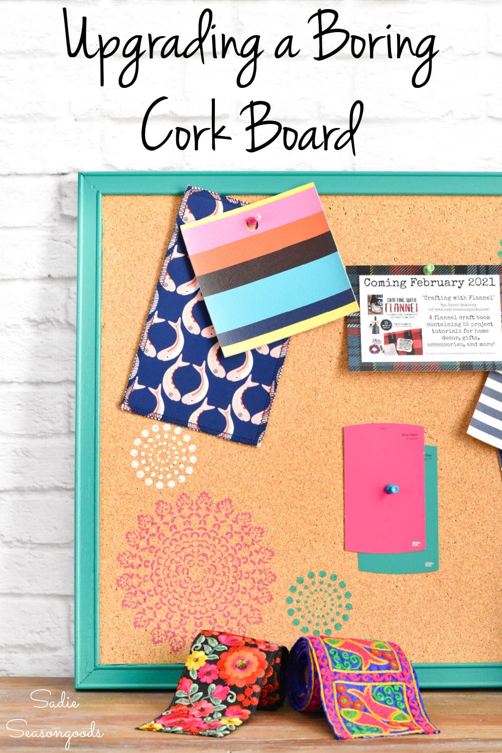 Upcycling a cork board for home office decor