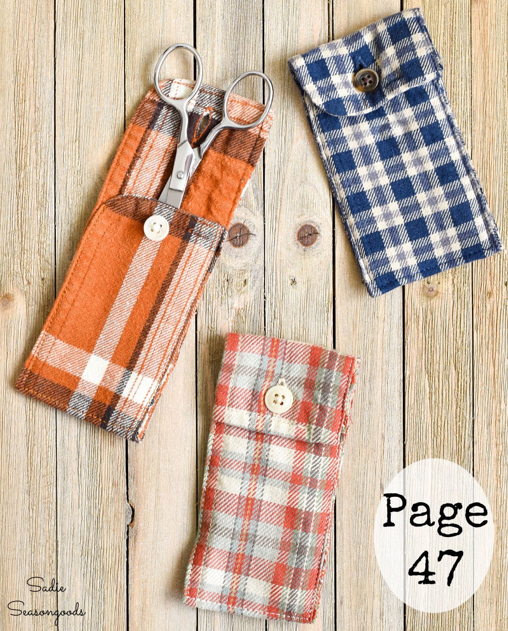 Envelope pockets made from a flannel shirt