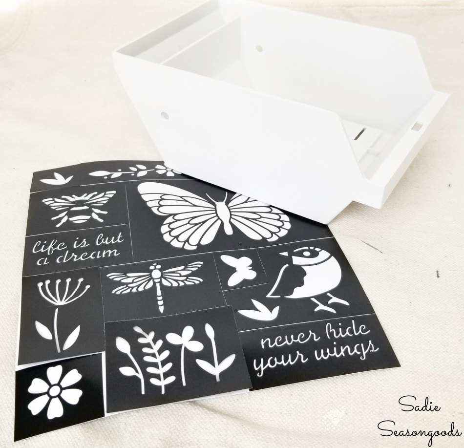 adhesive stencils for a tabletop greenhouse