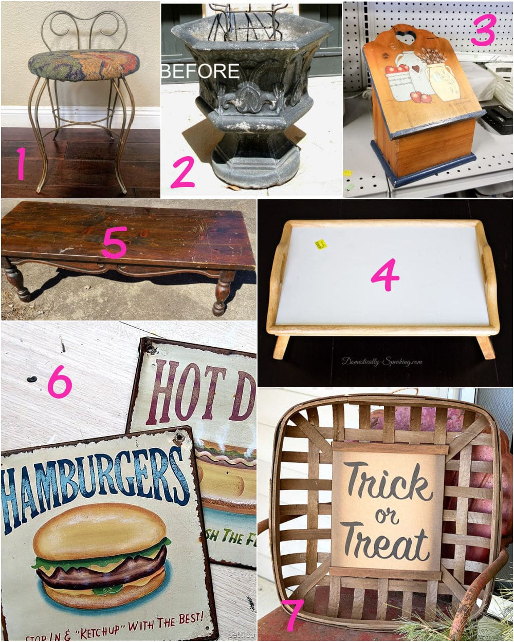 Pieces from the thrift store for easy upcycling projects