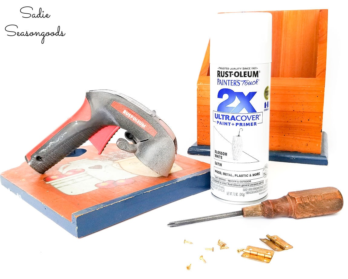 preparing to spray paint a vintage recipe box