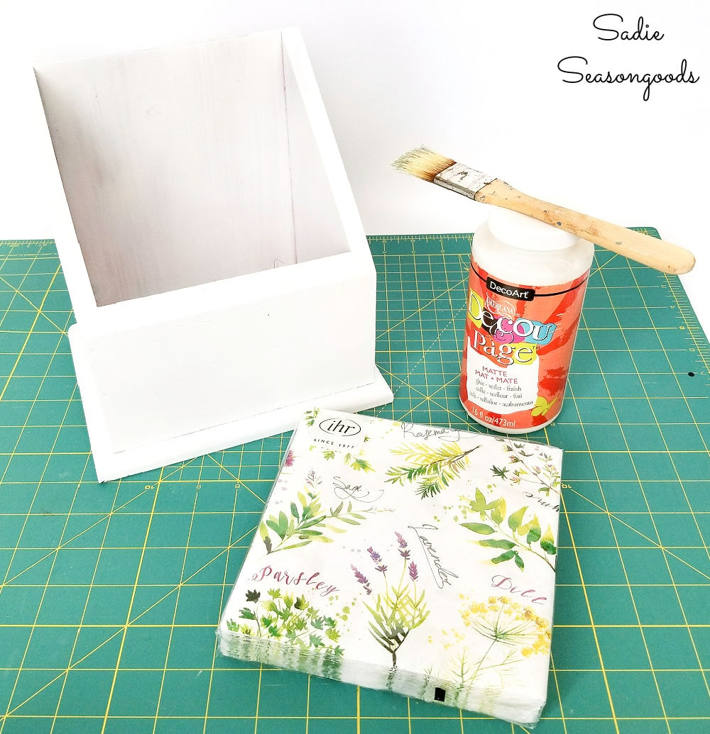 thrift store upcycle with paper napkin decoupage