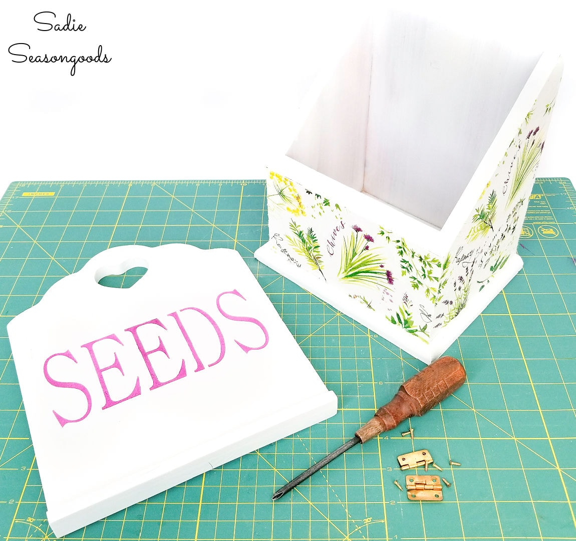 wooden recipe box as a seed storage box