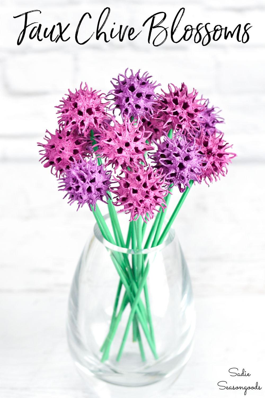 artificial allium flowers from sweet gum balls