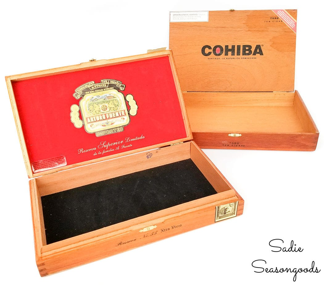 craft storage in wooden cigar boxes