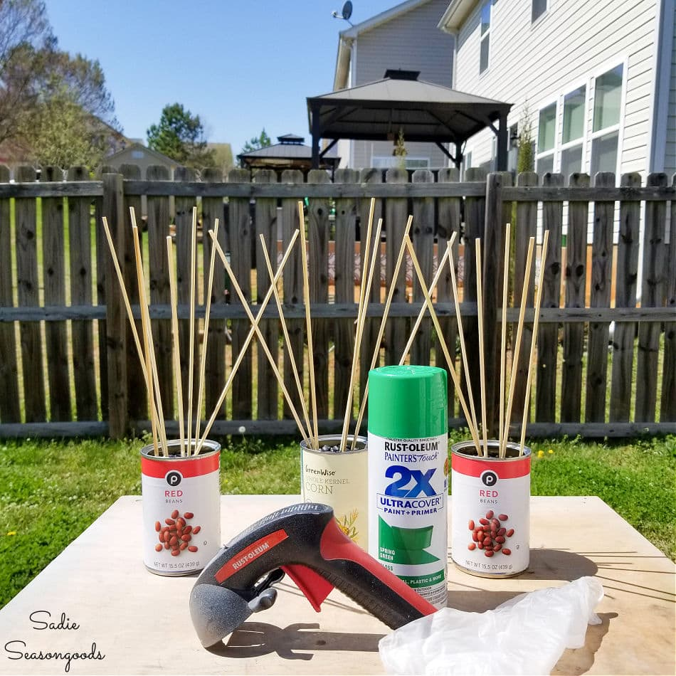 how to spray paint bamboo skewers