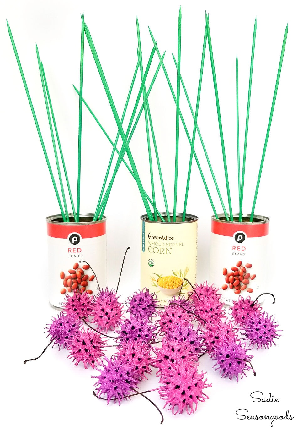 making chive flowers from sweet gum balls