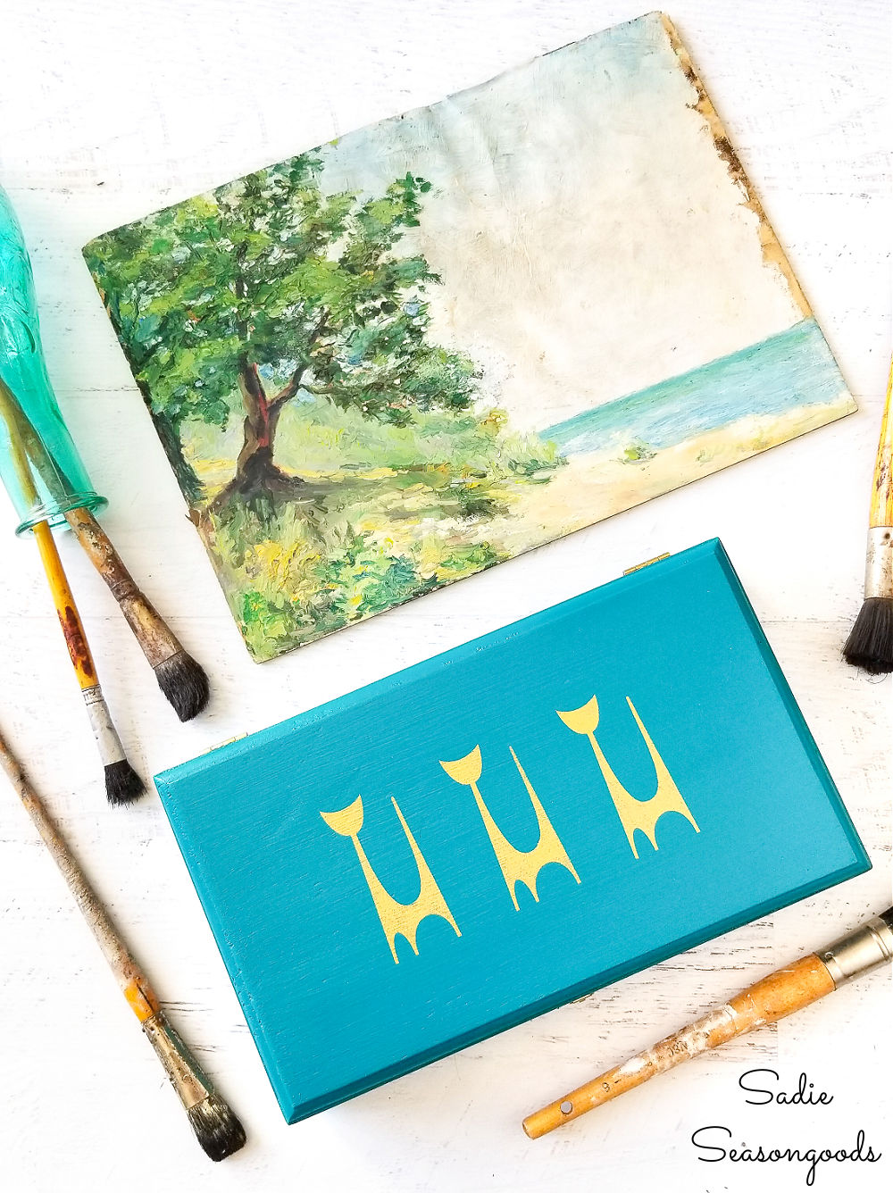 painting and stenciling the wooden cigar boxes