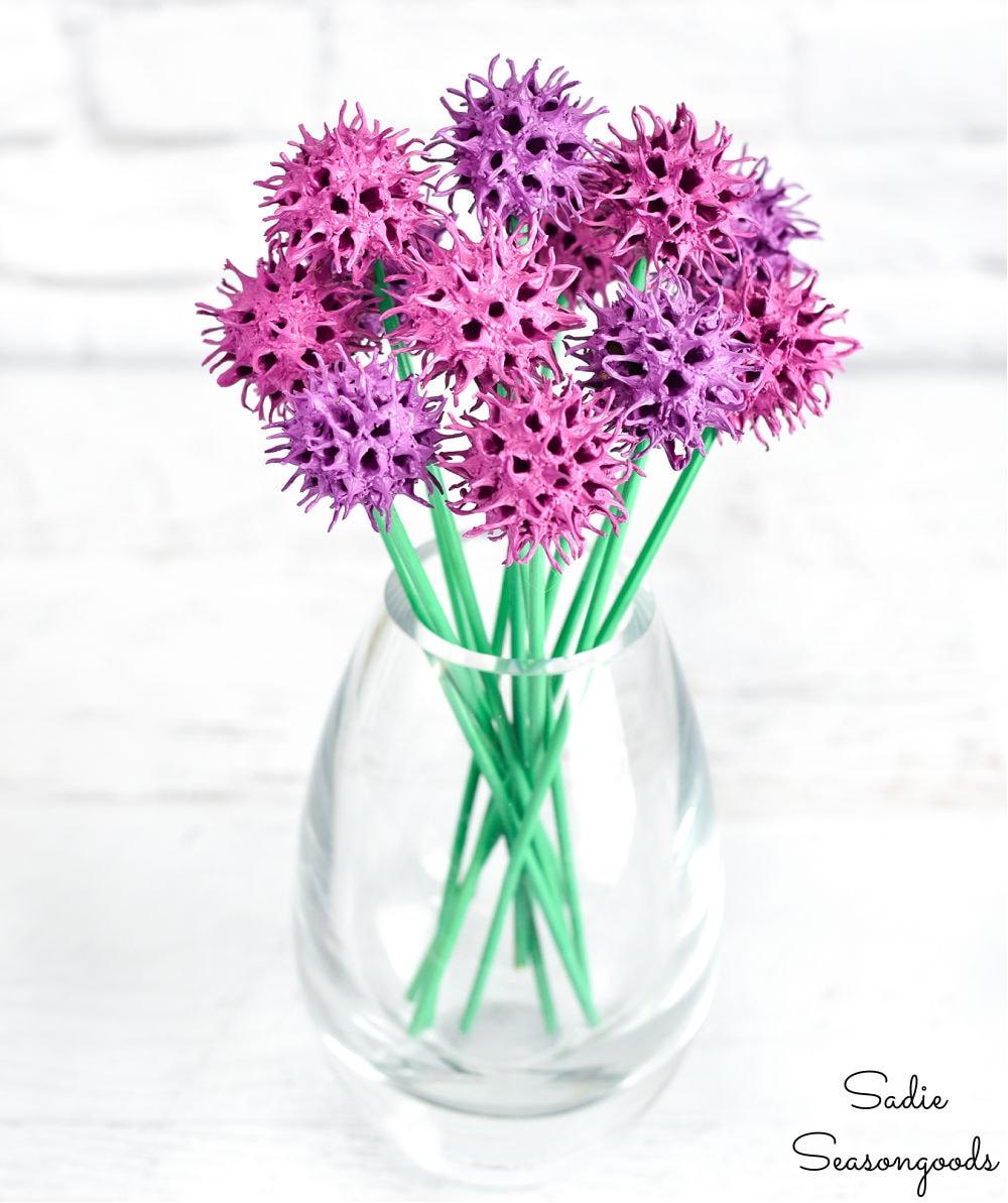 sweet gum tree balls as chive flowers