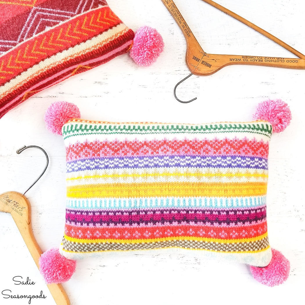 bohemian pillow covers from sweaters