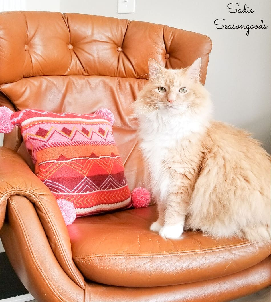 boho chic pillow with cottonball cat