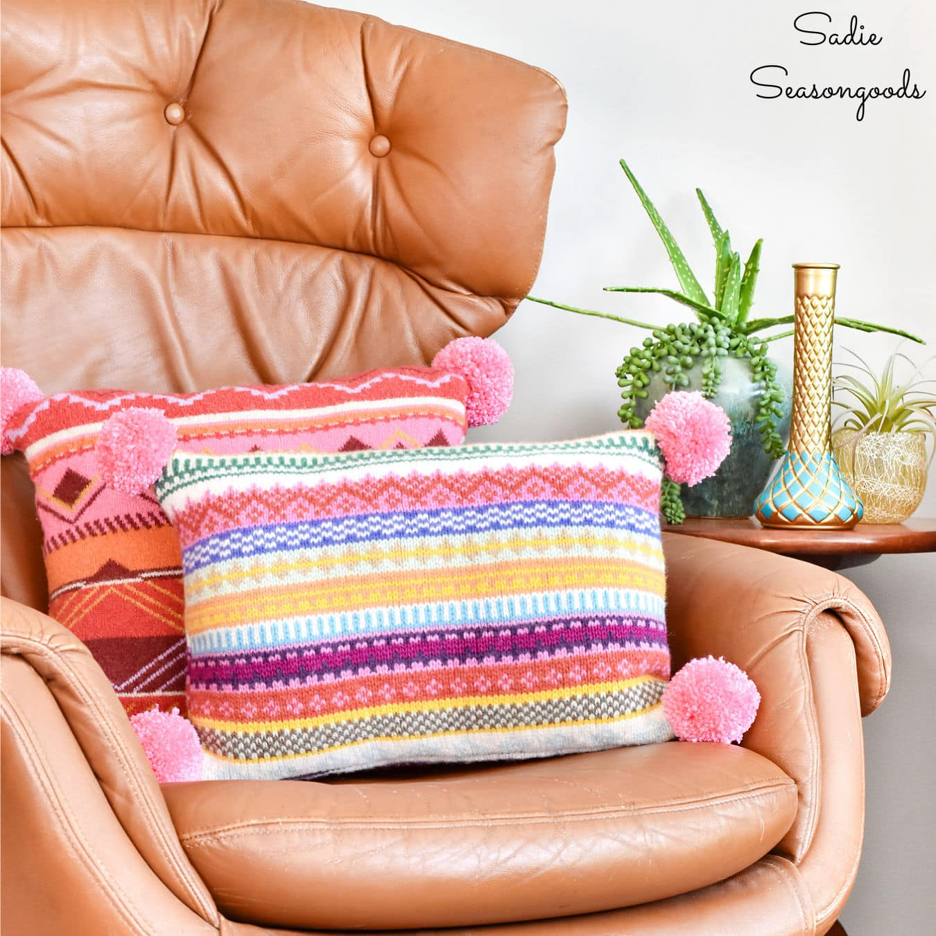 Boho Pillow Covers from Upcycled Sweaters
