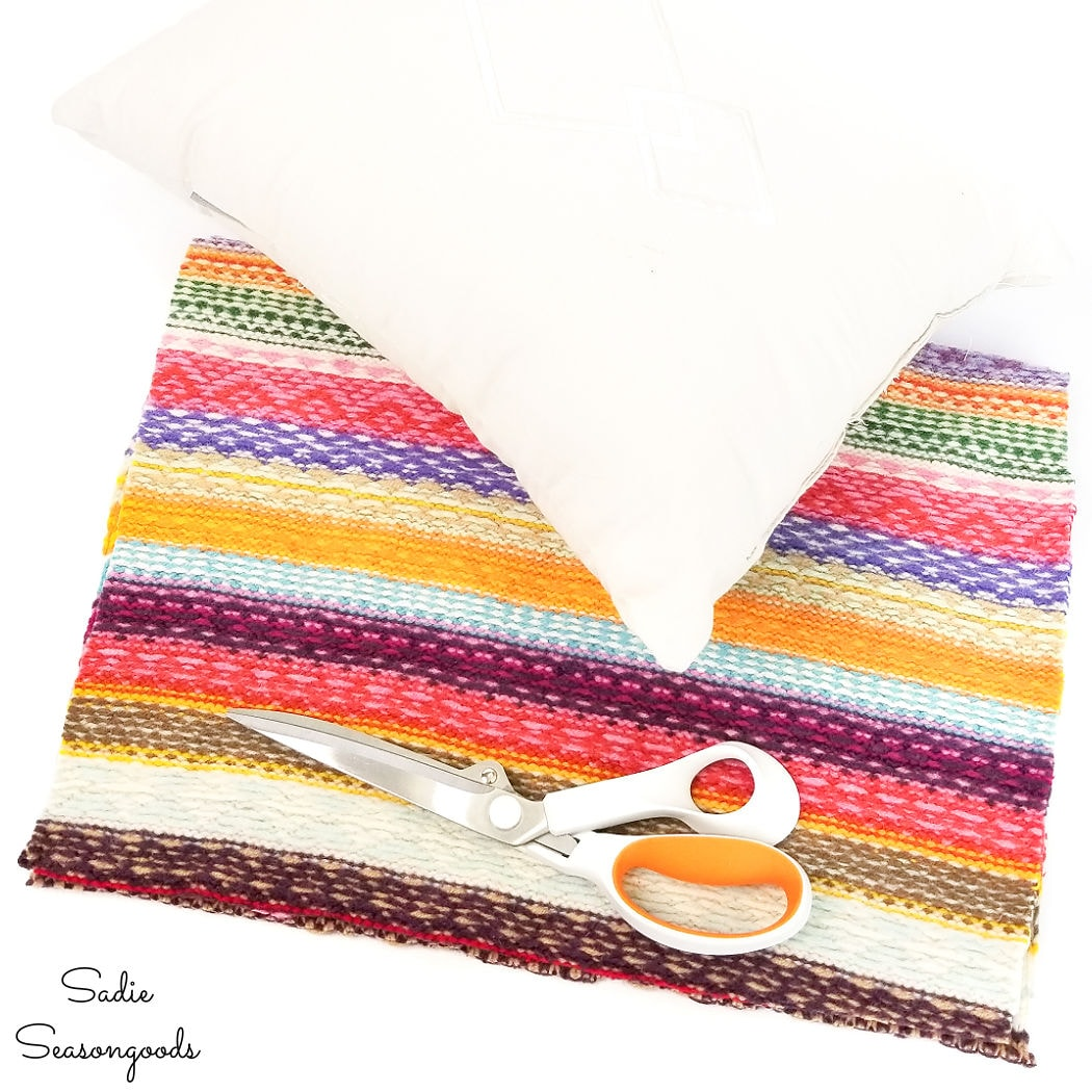 cutting out the boho pillow covers