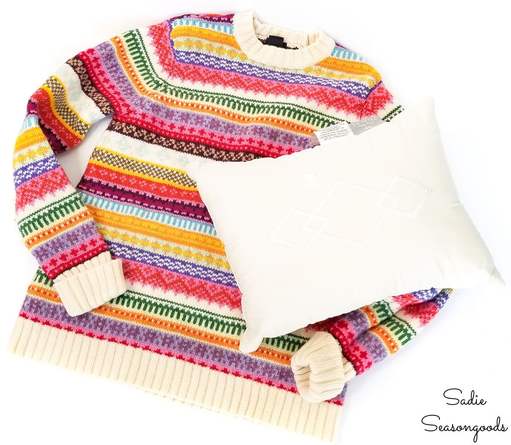 how to make a sweater pillow cover