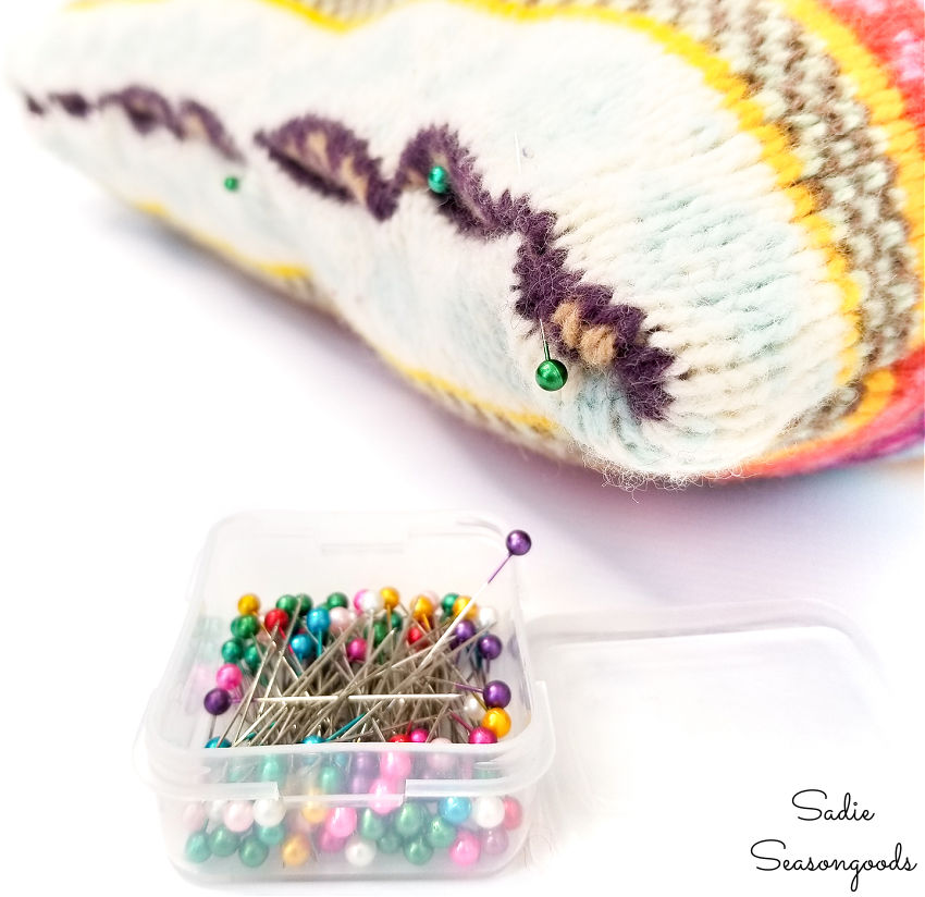 pinning the bohemian pillow covers for stitching