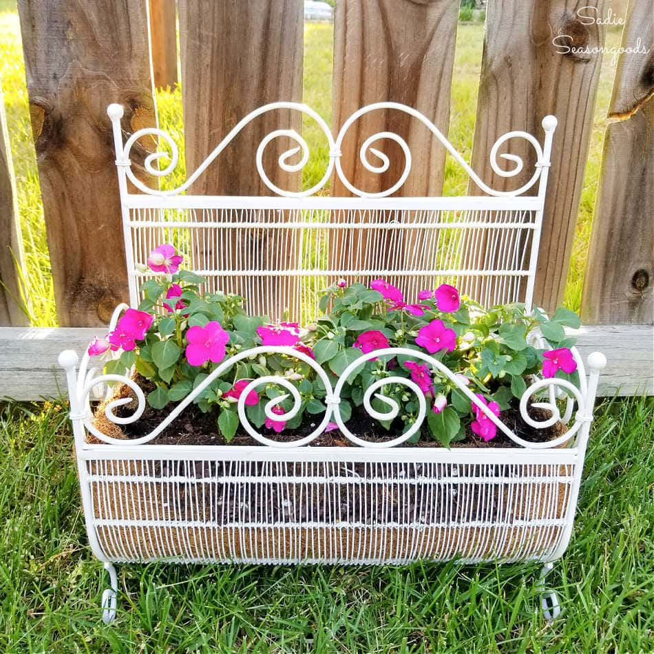 whimsical planter from a wire magazine holder