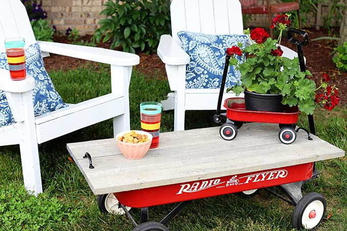 backyard furniture from a vintage wagon