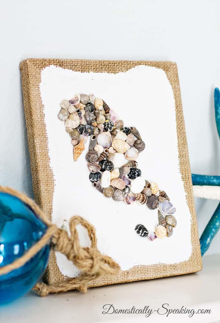 coastal wall art with small seashells