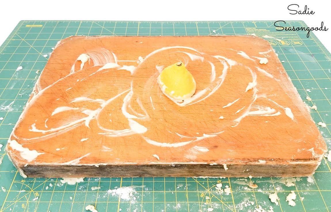 degreasing an old cutting board