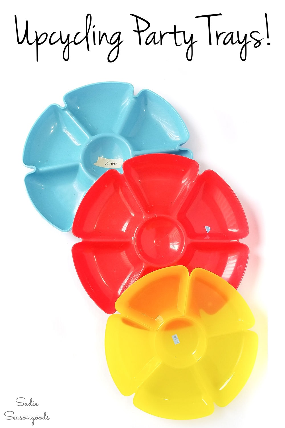 upcycling the round plastic trays