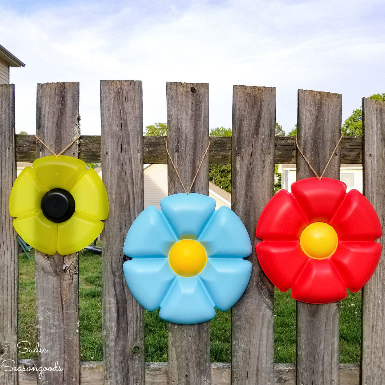 Whimsical Garden Decor from Round Plastic Trays