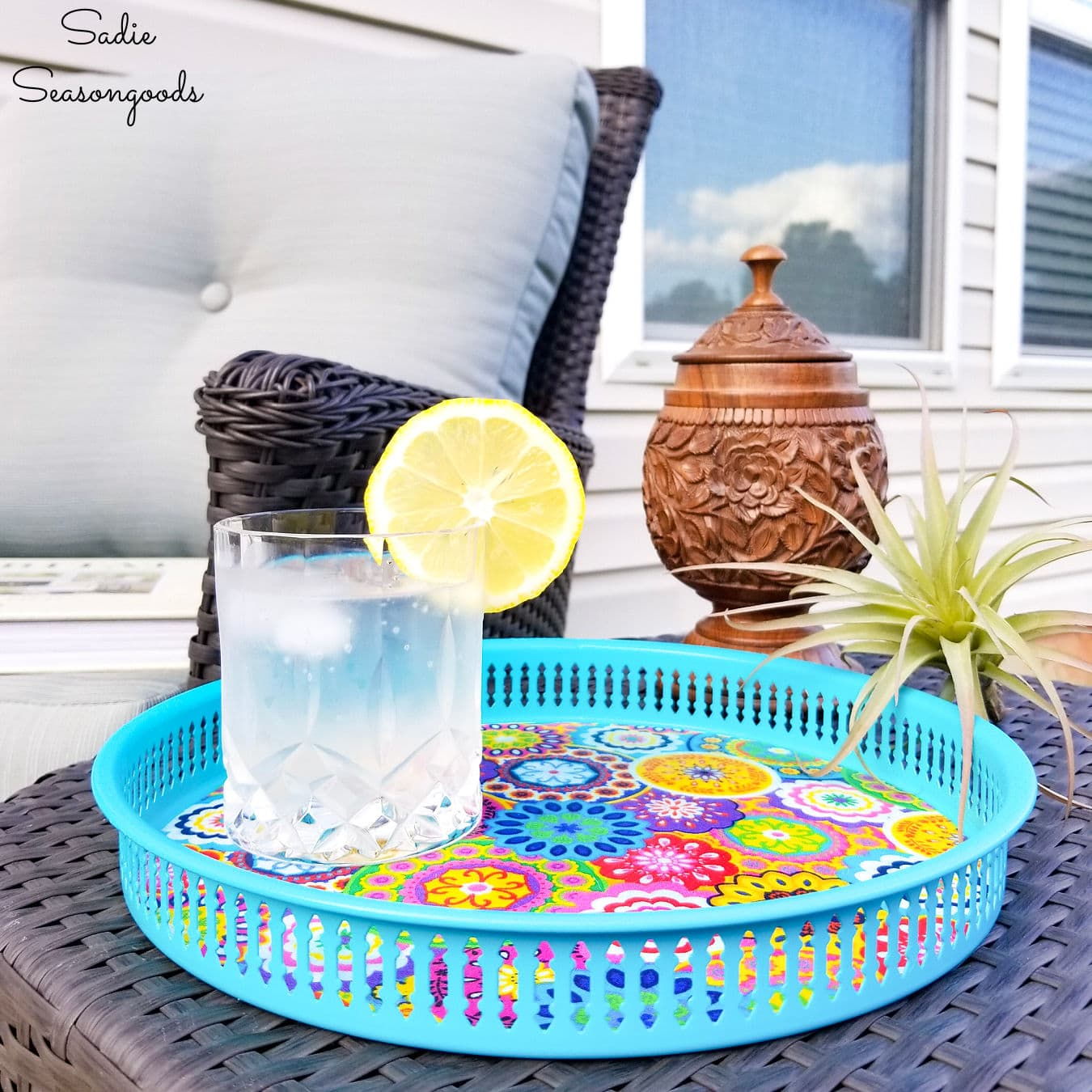 outdoor serving tray with boho summer style