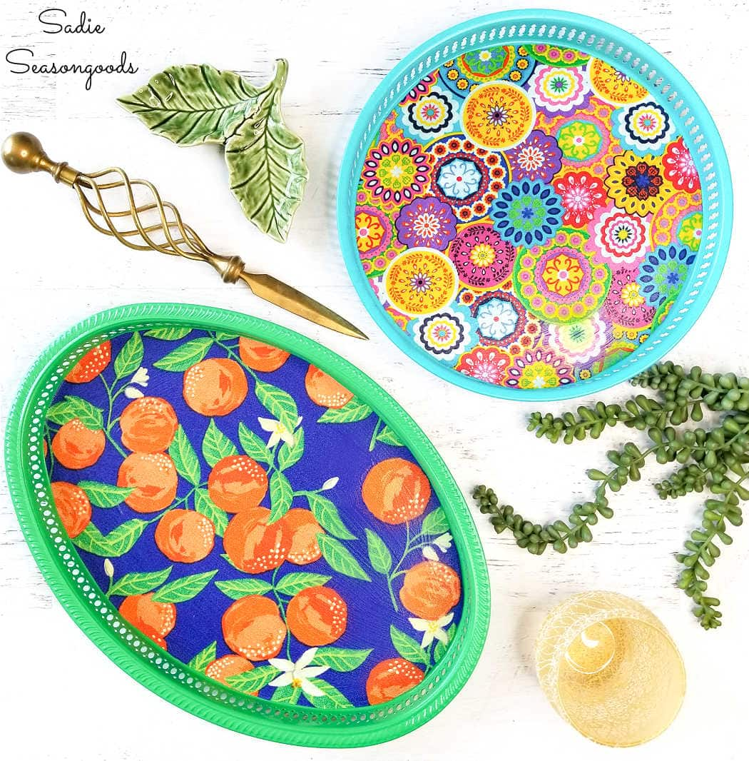 round serving trays with summer style