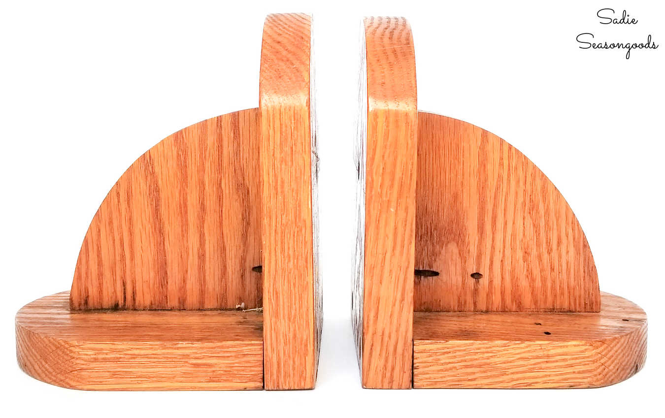 boho makeover on wooden bookends