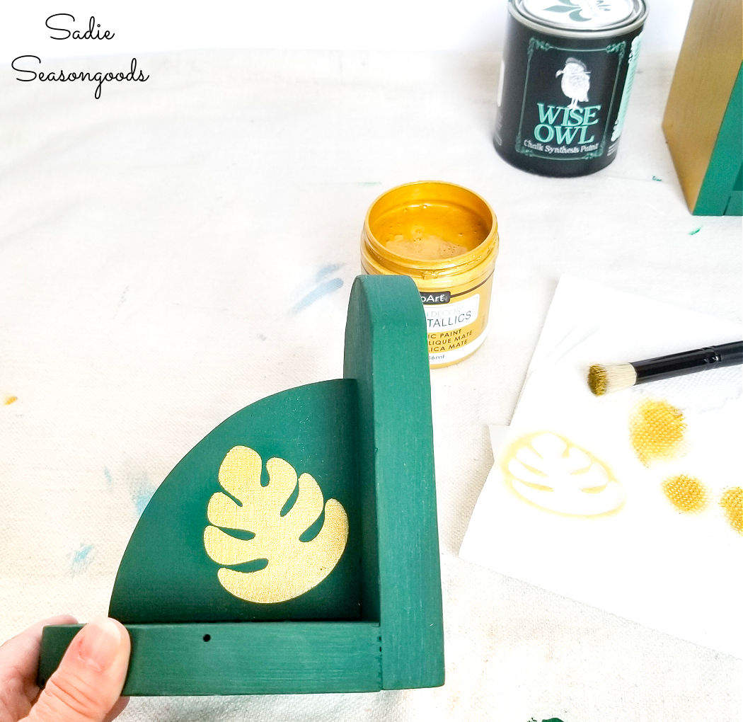 monstera leaf stencil on boho bookends