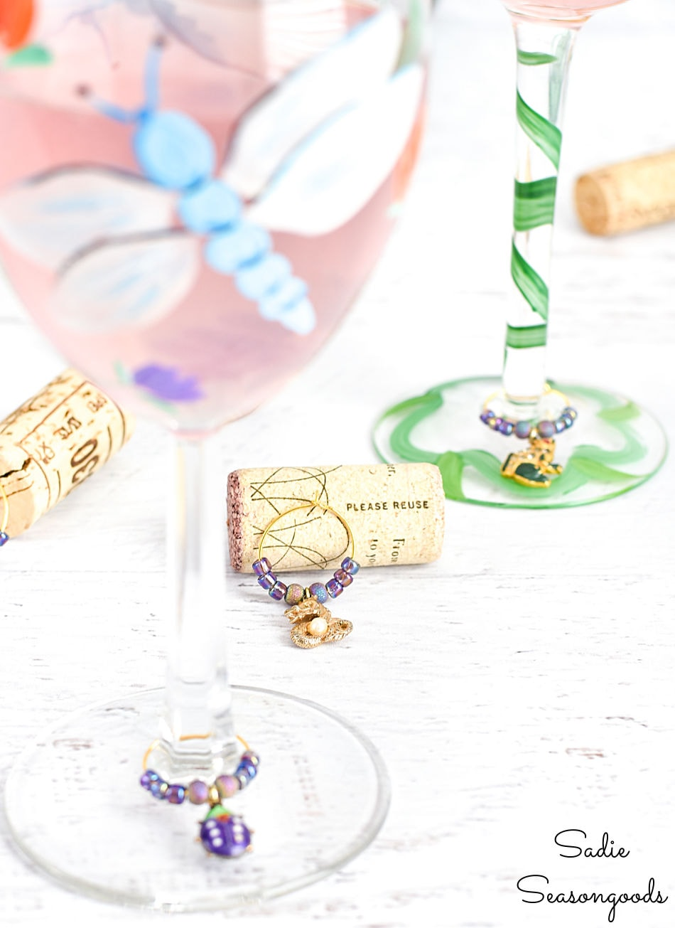 repurpose old jewelry as wine charms