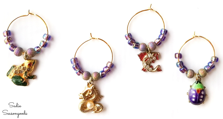 repurposing jewelry as wine glass charms
