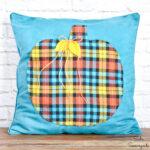 Blue Fall Decor with a Pumpkin Throw Pillow