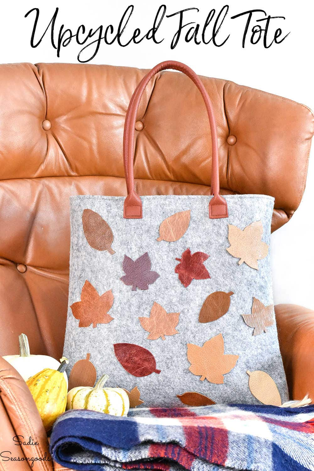 decorating a wool tote with fall leaves