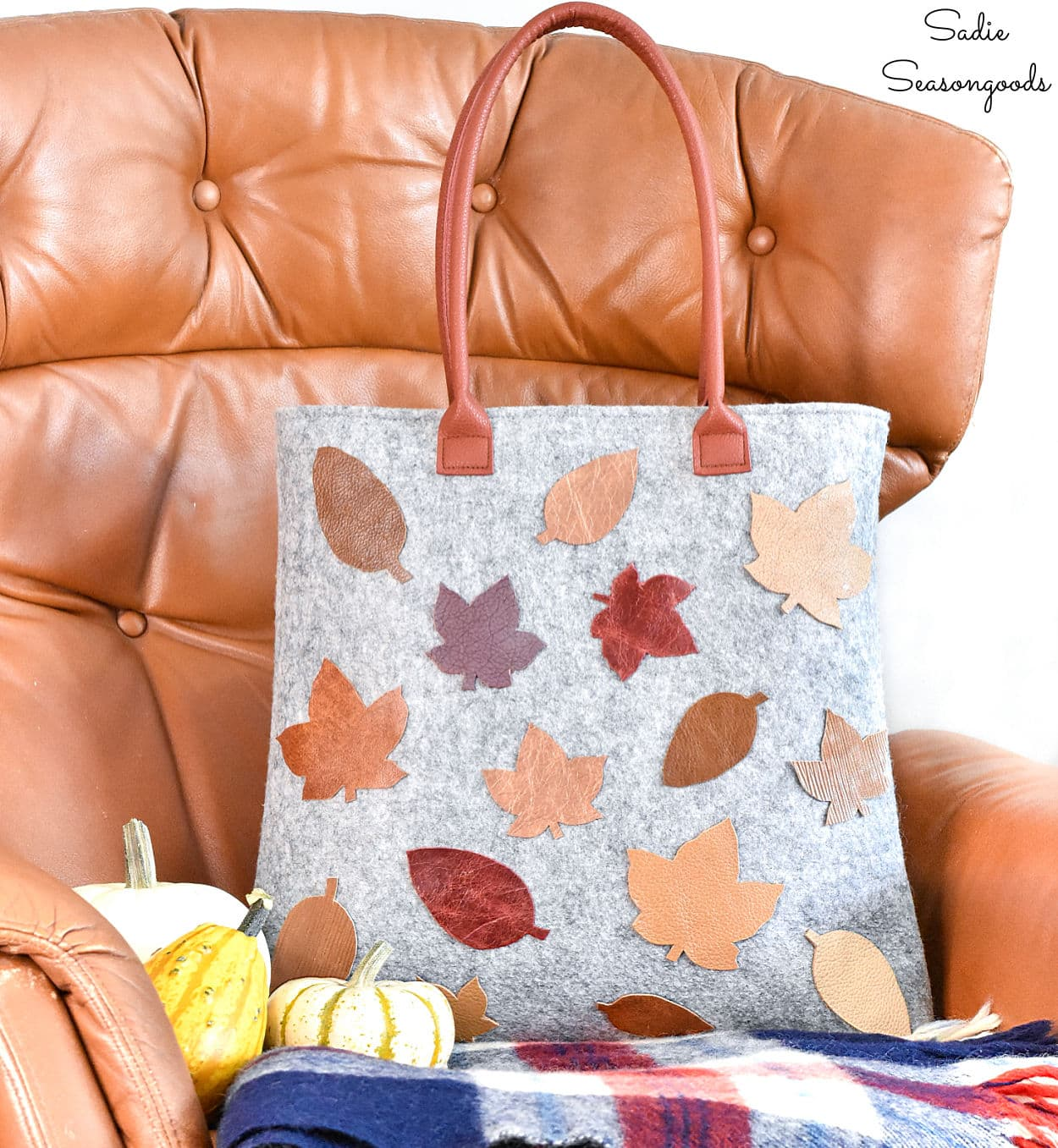 Decorating a Tote Bag with Leather Leaves